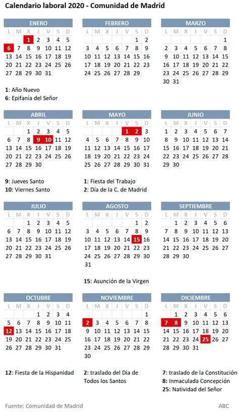 calendario laboral de la comunidad de madrid