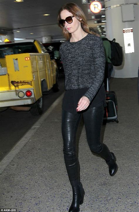 golden globe nominee emily blunt arrives  lax  leather