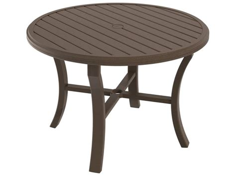 table with umbrella hole tropitone banchetto aluminum 42 round dining table with