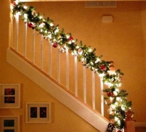 lighted garland for staircase stairway banister decorated for christmas