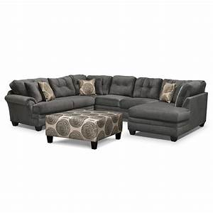 cordelle 3 piece sectional and cocktail ottoman set gray With gray sectional sofa value city