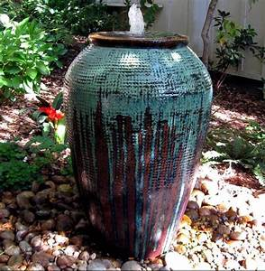 Large, Painted, Urn, Created, As, A, Fountain