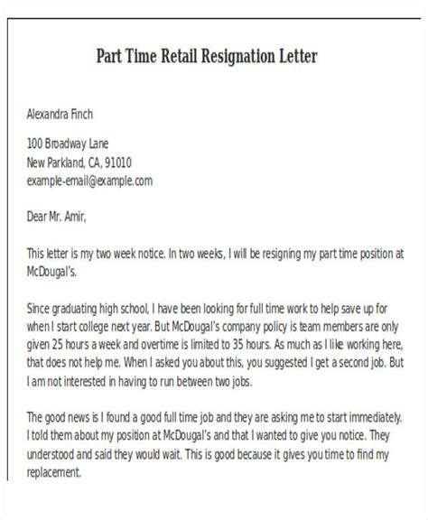 retail resignation letter template  word