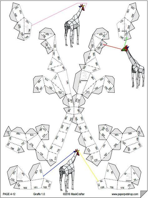 giraffe printable papercraft template paper model