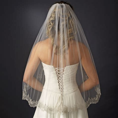 Pearl And Beaded Gold Edged Ivory Wedding Veil