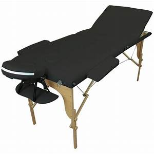 Table Pliante Noire : table de massage pliante en bois 3 zones noire housse de ~ Teatrodelosmanantiales.com Idées de Décoration