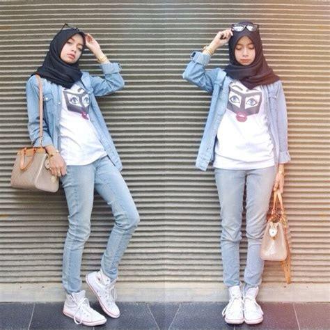 gaya hijab buat kamu  suka pakai jeans  kemeja