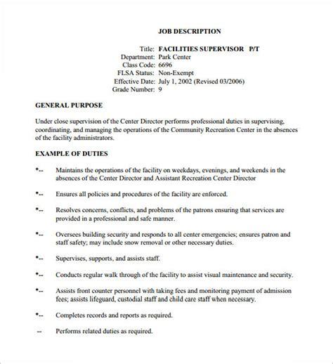 Writing Descriptions Templates by 10 Supervisor Description Templates Free Sle