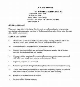 10 supervisor job description templates free sample for Example of a job description template