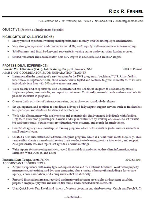 resume exle for an employment specialist susan