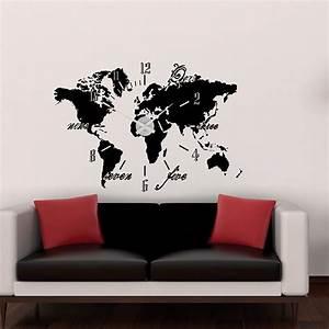 Wandtattoo Weltkarte Uhr : wandtattoo uhr weltkarte sunnywall online shop ~ Sanjose-hotels-ca.com Haus und Dekorationen