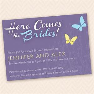 same sex bridal shower invite here come the brides that With same sex wedding shower ideas