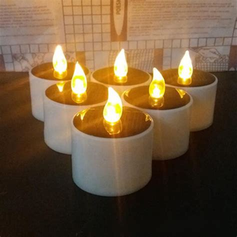 yellow solar power led candles flameless electronic solar