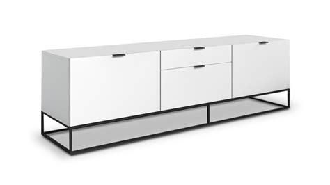 meuble tv kufstein blanc avec pi 232 tement en m 233 tal noir