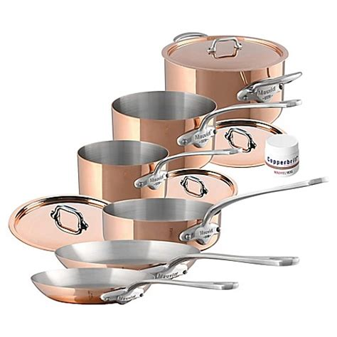 mauviel  copper  stainless steel  piece cookware set bed bath