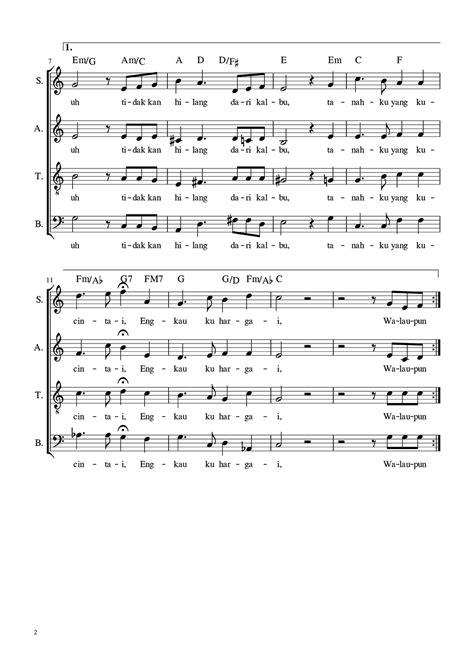 not lagu tanah airku tidak kulupakan horn tanah airku satb