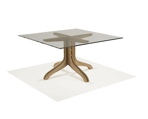 Square Teak Table with Glass Top