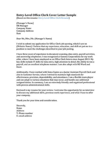 cover letter for entry level office clerk cover letter