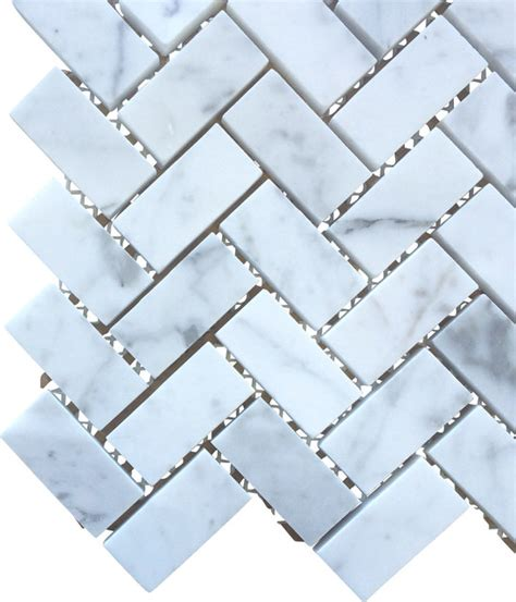 bianco carrara 3 4 x 2 honed marble herringbone mosaic