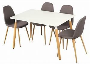table 4 chaises otis blanc chene With table de cuisine avec chaises