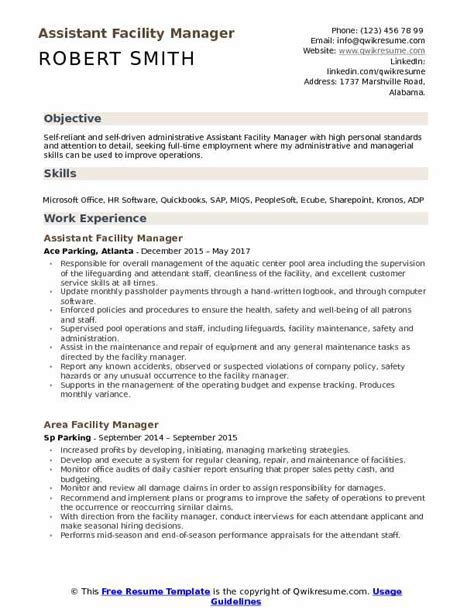 Facility Manager Resume by Assistant Facility Manager Resume Sles Qwikresume