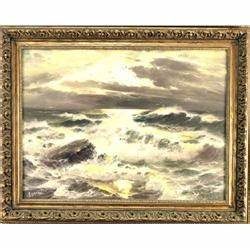 """Oil On Canvas Depicting a Seascape Signed """"Derera ..."""