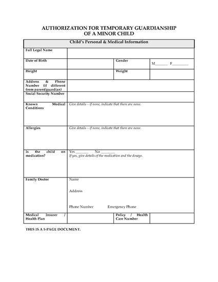 usa authorization  temporary guardianship  minor