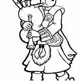 Coloring Bagpipes Kilt Instrument Plays sketch template