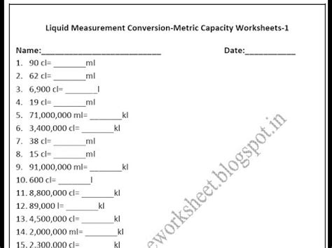 grade  metric capacity worksheets liquid measurement