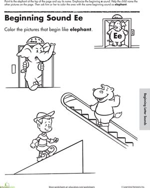 beginning sounds coloring sounds  elephant