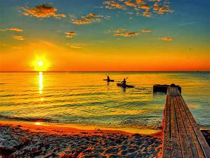 Sunrise Beach Wallpapers Landscape Nature Sun Rise