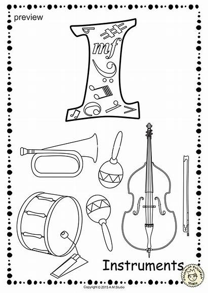 Coloring Alphabet Studio Anastasiya Musical Instrument Printable