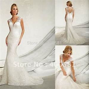 Aliexpresscom buy designer beaded v neck cap sleeves for V back wedding dress