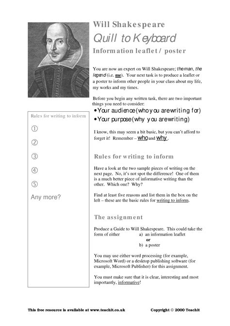 life  times  william shakespeare worksheet