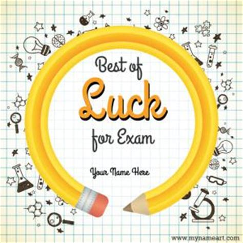 write     luck  exam greeting card image