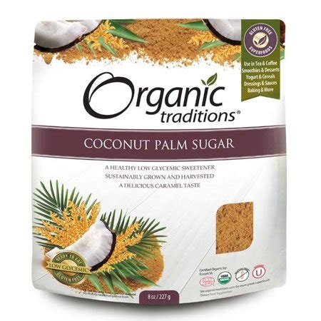 coconut palm sugar 8 oz 227 grams by organic