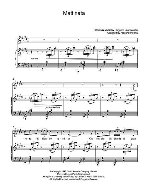 luciano pavarotti vocal range mattinata sheet by luciano pavarotti piano vocal guitar 39253