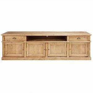 meuble tv 4 portes 2 tiroirs en pin recycle vieilli With meuble bas maison du monde 1 meuble tv industriel 2 tiroirs 1 niche