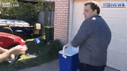 Water Bucket Reporter Hurls Throwing Australian Without