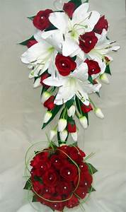 WEDDING BOUQUET SET,REAL TOUCH WHITE LILY & RED ROSES | eBay