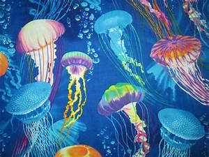 JELLY FISH TROPICAL JELLYFISH COLORFUL FISH SEA COTTON ...