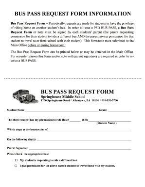colchester bus pass application form fillable online parklandsd springhouse bus pass request