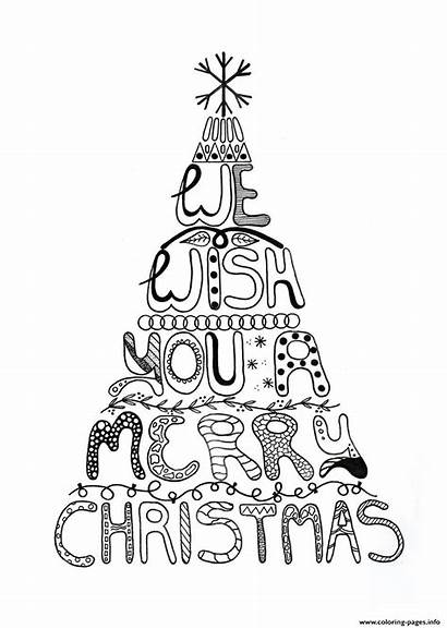 Coloring Christmas Merry Pages Tree Adult Printable