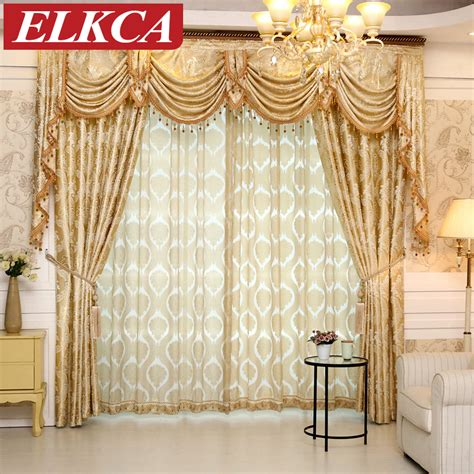 Swag Curtains For Living Room by 1 Pc European Gloden Royal Luxury Curtains For Bedroom