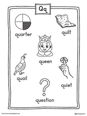 3 letter q words letter q word list with illustrations printable poster 30293