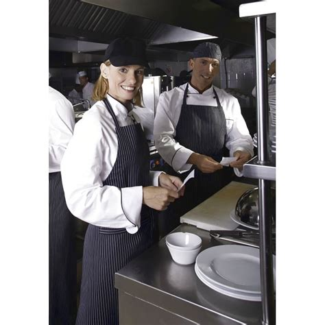 tablier cuisine noir tablier cuisine à bavette rayures étroites noir blanc coton