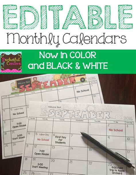monthly editable calendars colors ojays charts