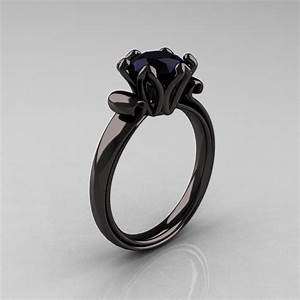 Vintage black diamond engagement ring ipunya for Black wedding rings with diamonds