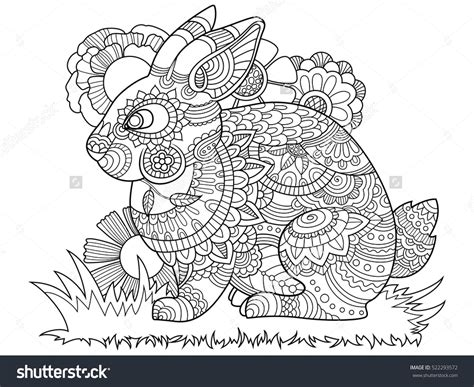 Rabbit Bunny Coloring Book For Adults Vector Illustration