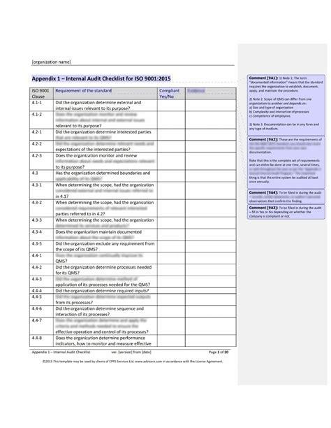 iso  audit checklist
